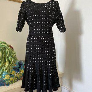 Neiman Marcus Ribbed Sweater Dress Polka Dot NWT